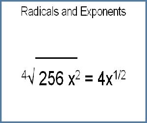 Radicals equate to Fractional Exponents.