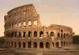 The Roman Colosseum is an elliptical structure completed in 80 AD covers 6 ground acres.