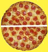 Pizza halves.