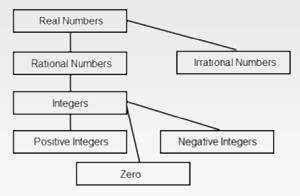 Real numbers are Rational Numbers (Integers positive, negative and zero) and Irrational Numbers.